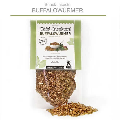 SNACK-INSECTS BUFFALOWÜRMER - 40 Gramm Pack ►