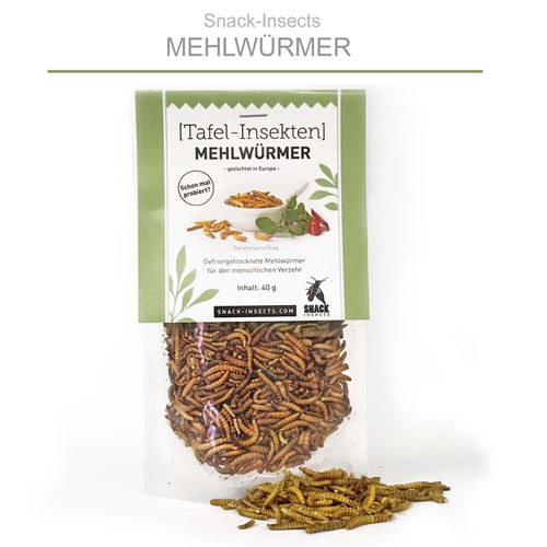 SNACK-INSECTS MEHLWÜRMER - 40 Gramm Pack ►
