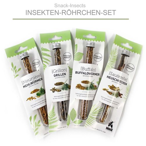 SNACK-INSECTS 'INSEKTEN-MIX' - 4 Insekten-Röhrchen Einsteiger Set ►